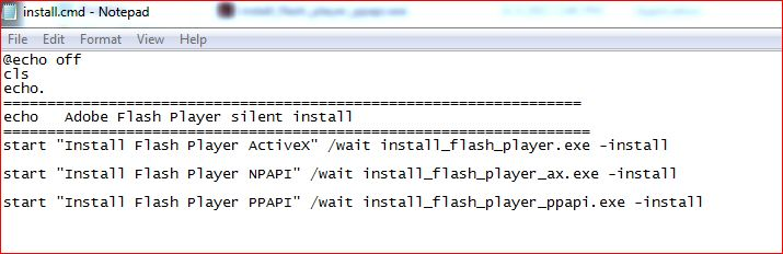 Silent Install Flash Player
