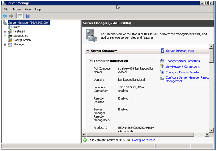 Install windows server backup features