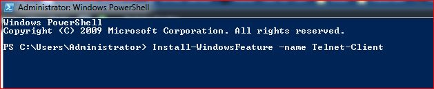 Powershell to Enable Telnet Client