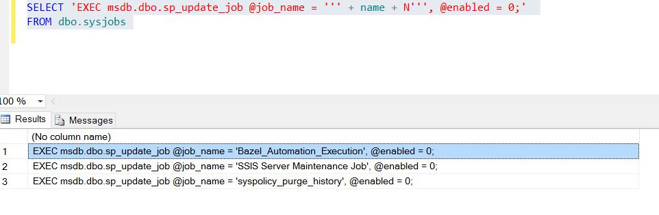 Sql Server: disable all sql jobs