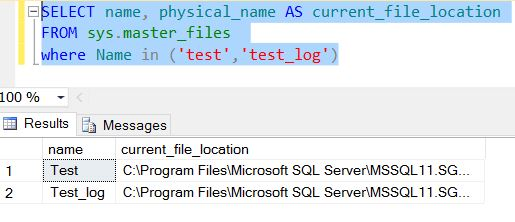 Locate the path of the data and log files