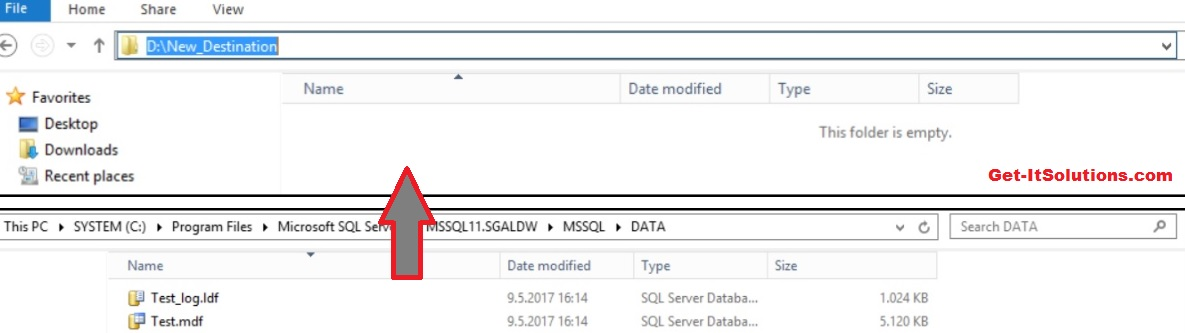 Move sql database files to another drive
