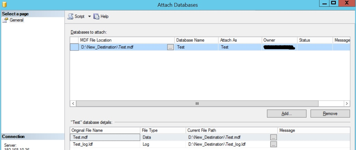 Move sql database to another drive