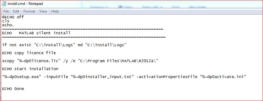 MATLAB silent install offline installer and msi - CMD