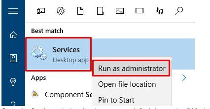 Run as administrator Windows Services