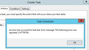 Solution for task scheduler error 2147750704 send email