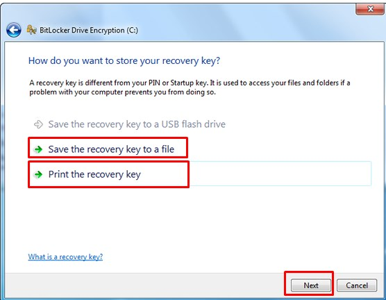 Print the recovery key