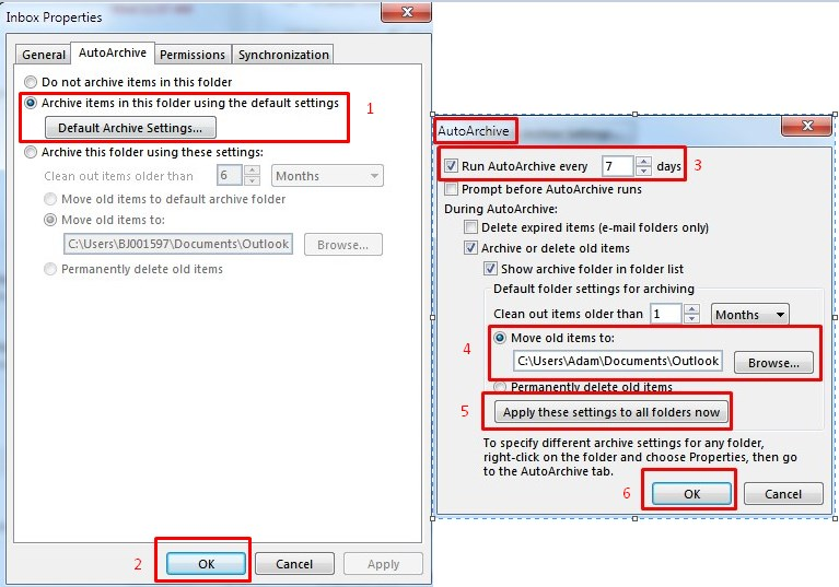 AutoArchive Settings Outlook 2013