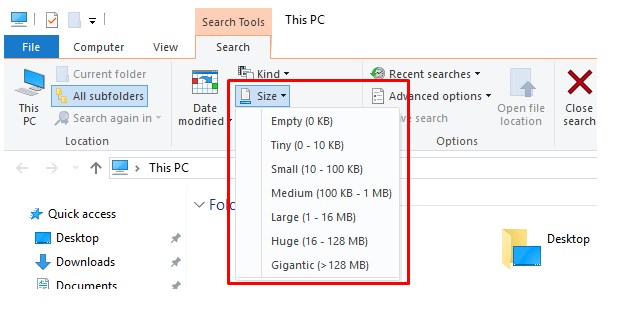 Find Big Files Windows