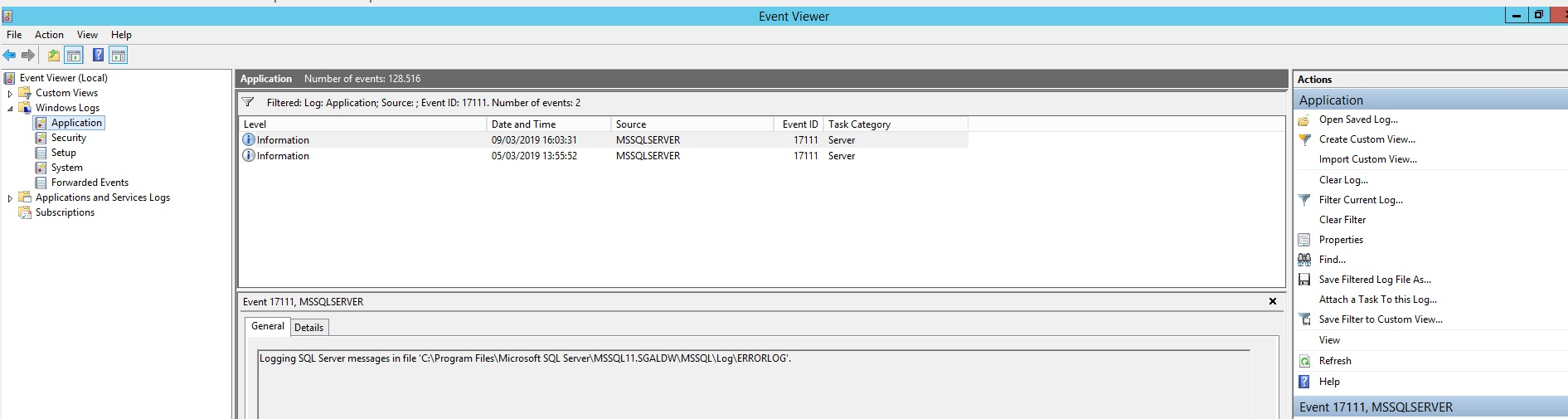 Locate Sql Server Log file location Using Application Event Viewer