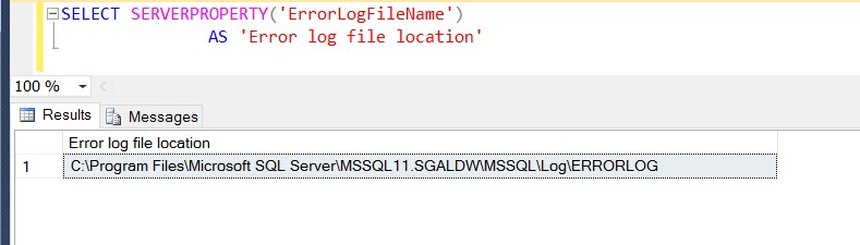 Identify Sql Server Error Log file using tsql command