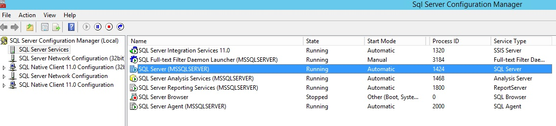 SQL Service configuration manager