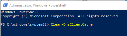 Windows flush dns command powershell