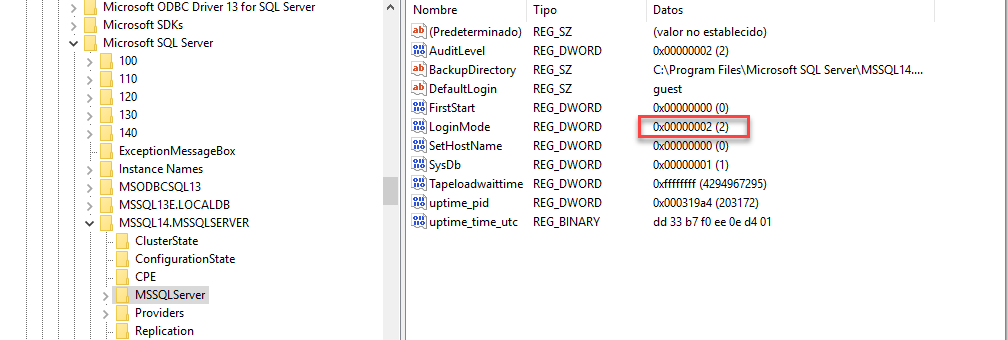 Change SQL Server Authentication Mode from regedit