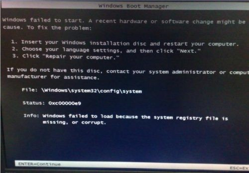 error code 0xc00000e9 - Windows failed to load because the system registry file is missing or corrupt.