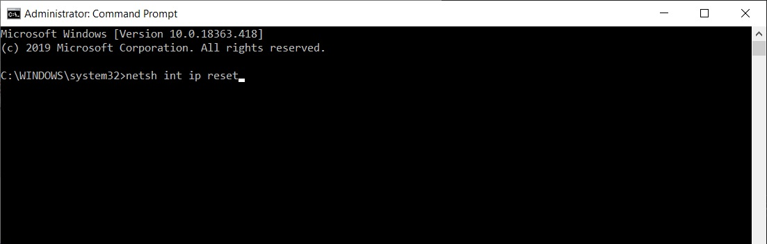 Reset You TCP-IP to default