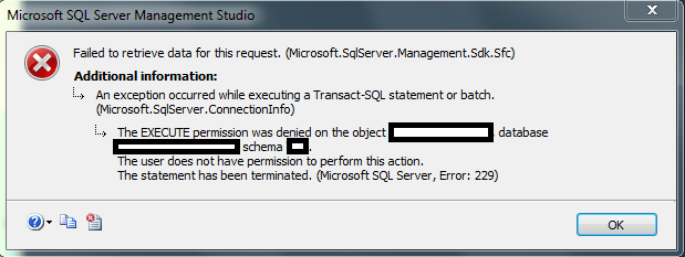 The EXECUTE Permission was Denied on the Object