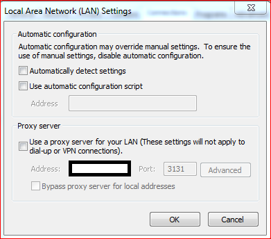 Disabling internet automatic detect settings
