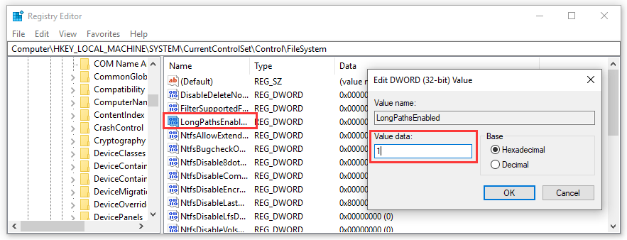Enable Long Path Support (Windows 10 built 1607 or higher)
