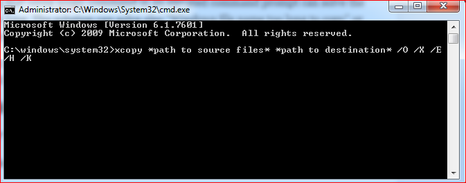 Using the xcopy command