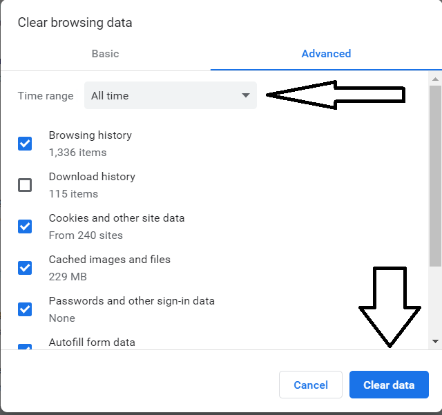 Chrome Clear All Browsing Data Screen