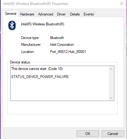 Device Cannot Start (Code 10) Bluetooth