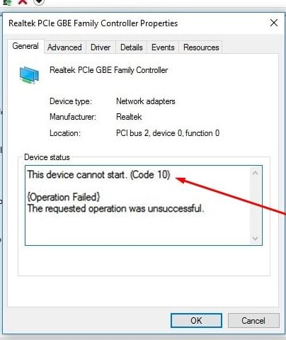 Device Cannot Start Code 10 Network Adapter