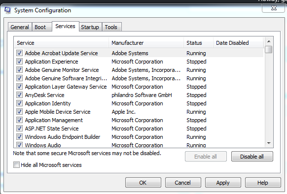 Disabling all start up services.