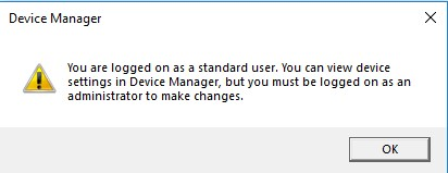 Device Manager Run Without Admin Privileges