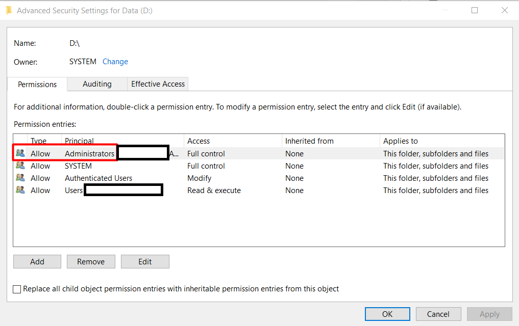 Provide permissions on the drive