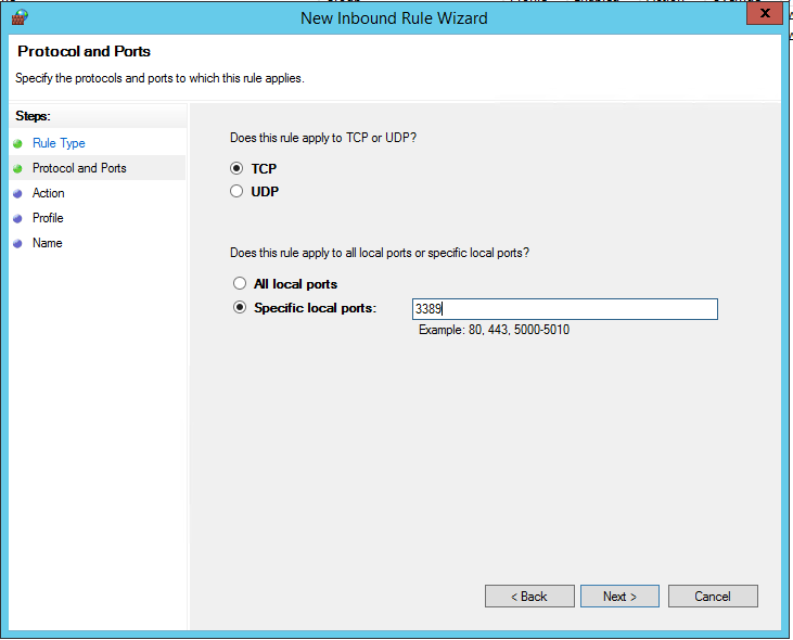 Provide permission for Port 3389 on Firewall