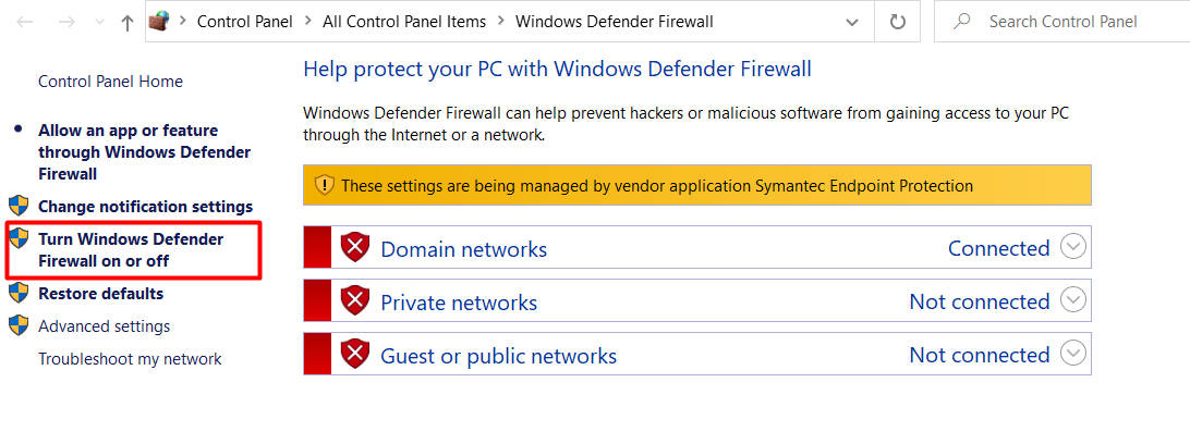 Disable Firewall and Security