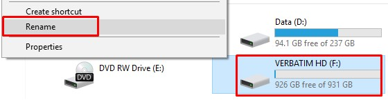 How to rename external hard drive