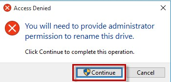 How to rename hard drive Operating System - The Access Denied prompt