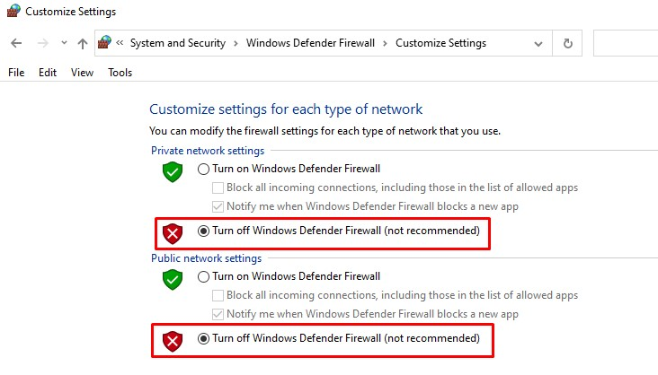 Temporarily disable Windows Defender Firewall