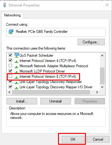 Disable IPv6-DNS Name Does Not Exist