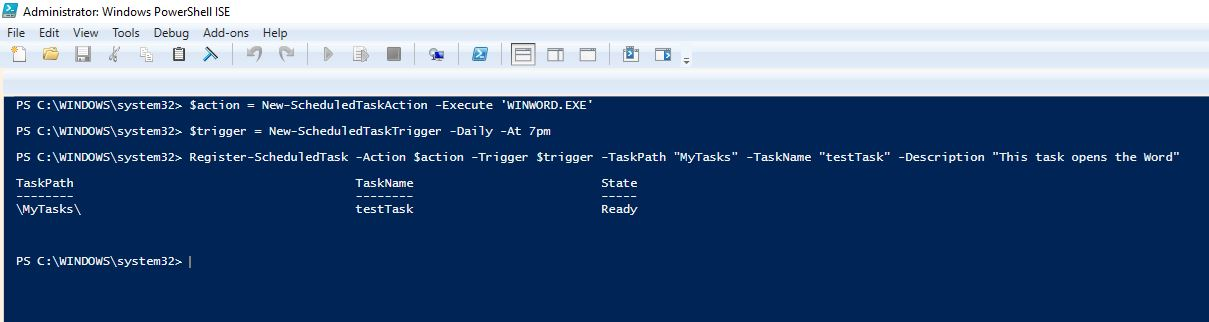 How to create a scheduled task with PowerShell