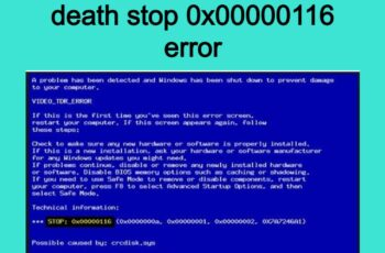 How to fix blue screen of death stop 0x00000116 error