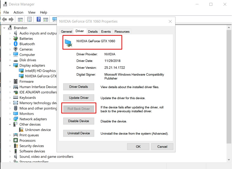 ROLL BACK DRIVERS - DXGI ERROR DEVICE REMOVED
