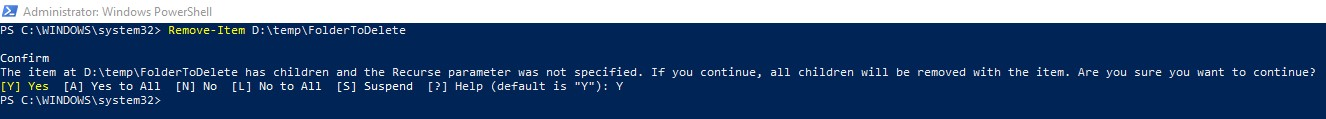 How to delete folder using PowerShell