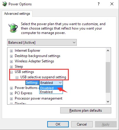 USB device not recognized - Disable USB selective suspend setting