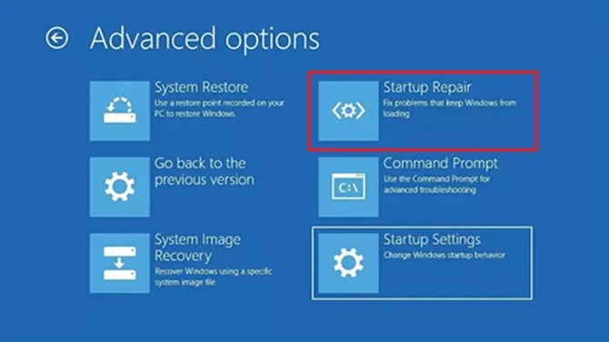 Recovery your pc needs to be repaired windows 10