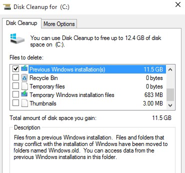 Delete previous version of windows - Disk Cleanup