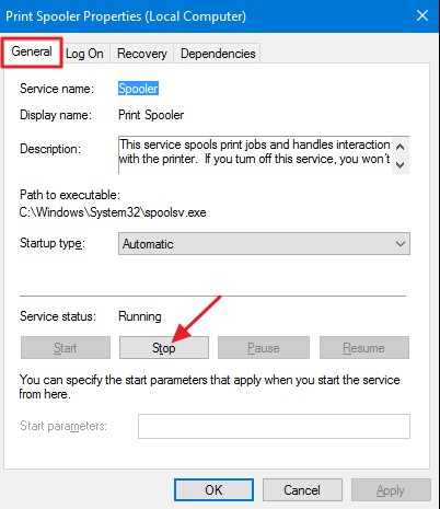 How to clear print spooler in Windows 10